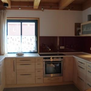 Küche Ahorn Front mit Massivholzplatte